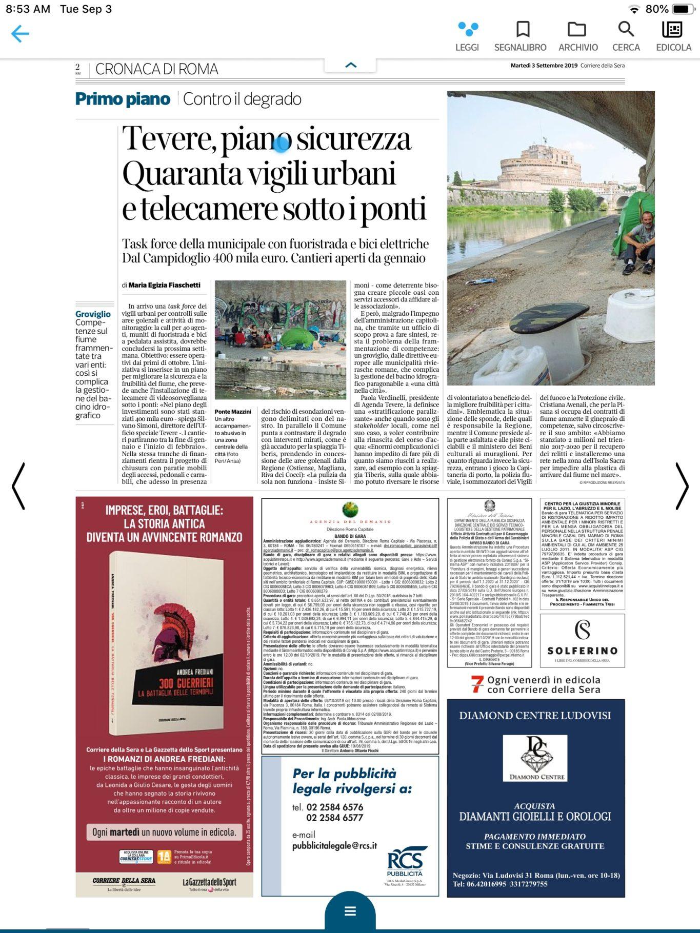 Corriere della Sera – Tevere, piano sicurezza. 40 vigili urbani e telecamere sotto i ponti